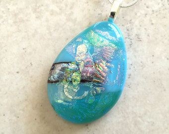 Vibrant Fused Dichroic Glass Pendant and Necklace – Large Dichroic Glass Jewelry - Oval Dichroic Jewelry For Her – 54-18