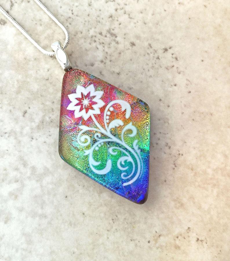 Charming Flower Pendant \u2013 Glowing Dichroic Glass Necklace \u2013 Colorful Jewelry \u2013 144=20