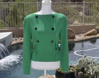 4dd4cfbf9a3 Vintage 1980 s St. John By Marie Gray Knit Sweater Size 8 Green