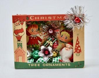 vintage christmas shadowbox santas elves repurposed christmas ornament box decoration - Vintage Christmas Pictures