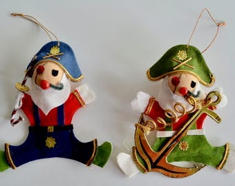 Vintage Pirate Christmas Ornaments Set of Two Pirates Fun Christmas Decorations
