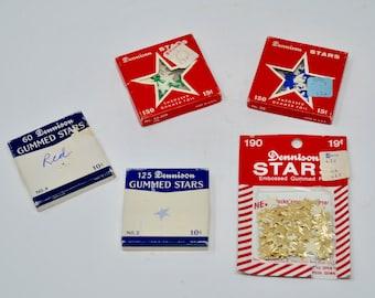 Vintage Dennison Gummed Stars Mixed Lot Dennison Embossed Foil Paper Stars Variety of Colors