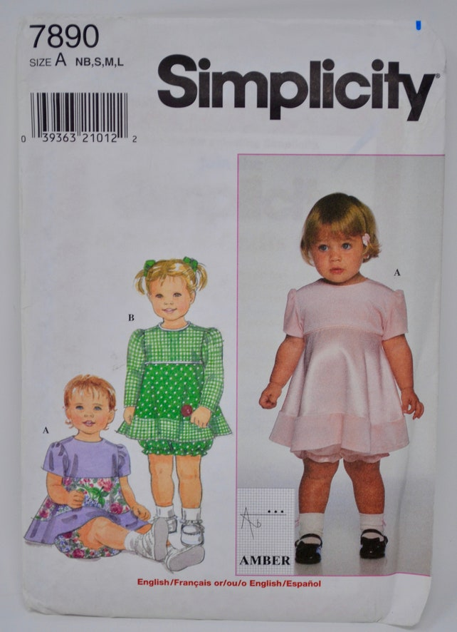 Simplicity 7890 Babies Dress And Panties Sewing Pattern Baby Etsy