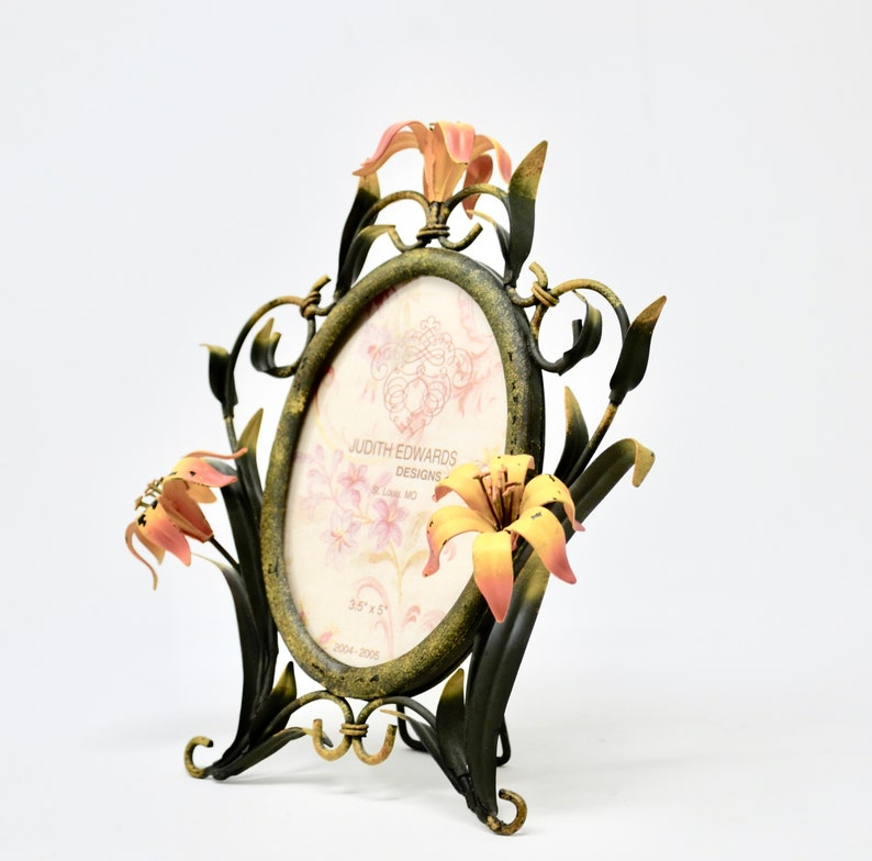 Judith Edwards Designs 3.5 x 5 Metal Floral Tole Frame Shabby Chic Home Decor