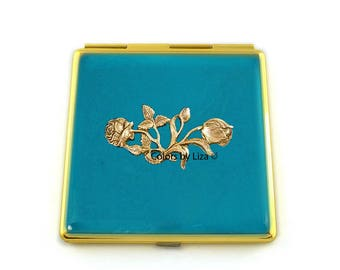 Art Nouveau Compact Mirror Inlaid in Hand Painted Enamel Turquoise Opaque with Color and Personalized Options Available