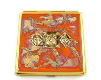 Art Deco Compact Mirror Inlaid in Hand Painted Enamel Orange and Gold Quartz with Color and Personalized Option