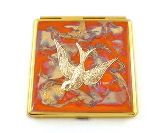 Art Nouveau Bird Compact Mirror Inlaid in Hand Painted Enamel Orange Quartz Inspired with Color and Personalized Options Available