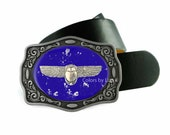 Scarab Belt Buckle Inlaid in Hand Painted Cobalt Blue with Silver Splash Enamel Nautical Inspired Belt Buckle with Custom Colors Available