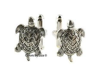 Sea Turtles cuff links,Aquamarine blue sea turtle,Nautical Cufflink,Tribal Turtle cuff links,Gift for Mom Girlfriend Gift for Her