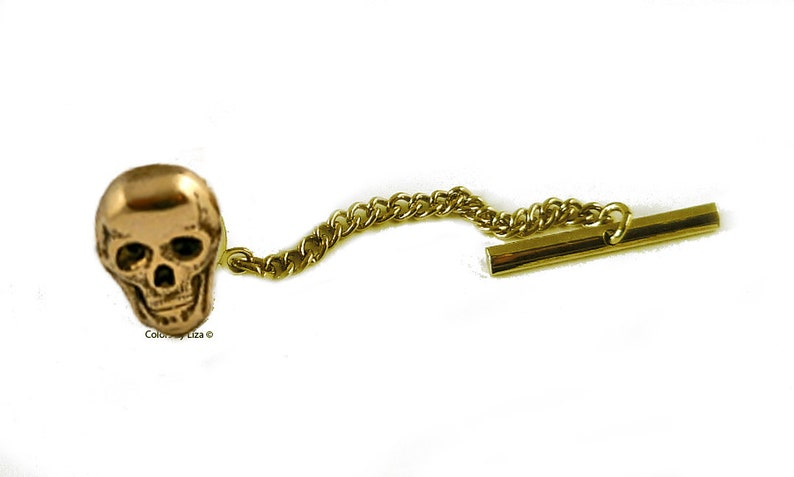 Skull Tie Clip Antique Gold Inlaid in Hand Painted Ultra Violet Opaque Enamel with Color Option