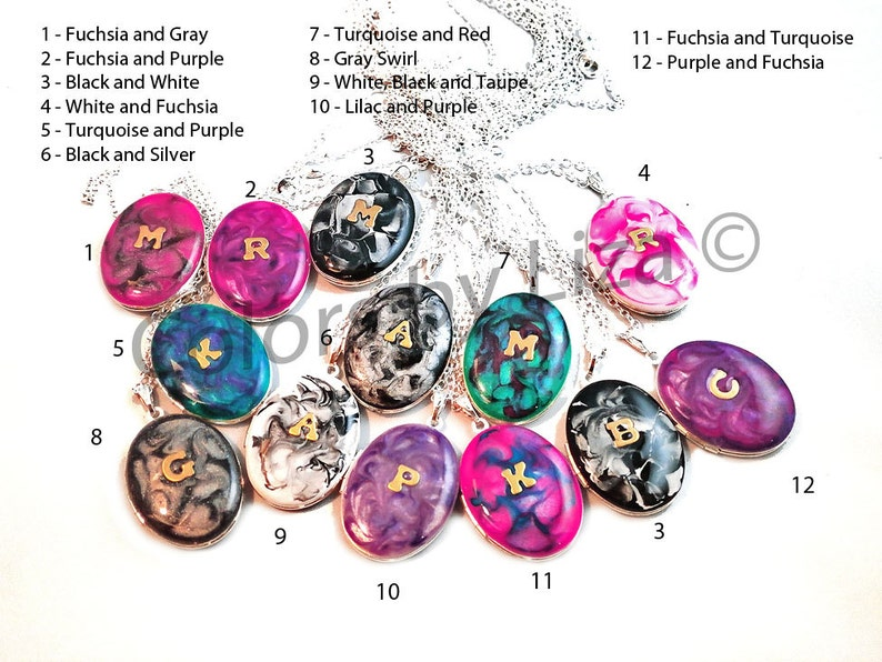 Personalized Lockets Brass Letters Inlaid in Hand Painted Enamel Turquoise and Purple with Sterling Silver Chain Custom Colors Available