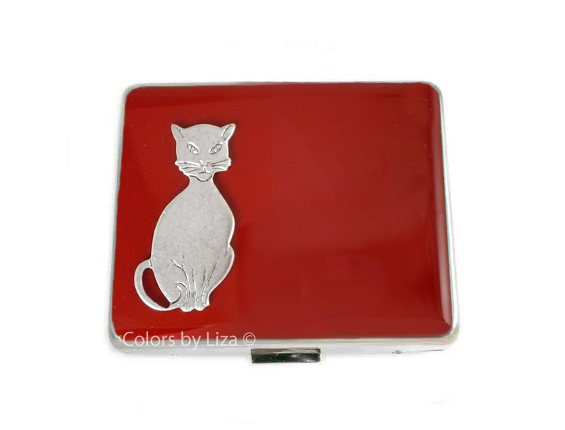 Cats Weekly Pill Box with 8 Compartments in Red Opaque Enamel Art Deco Inspired with Personalize and Color Options Available