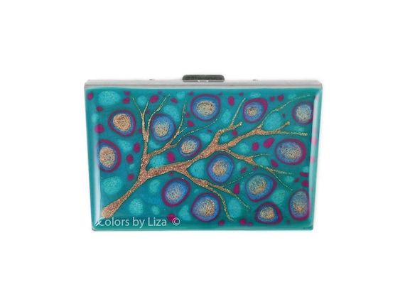 Credit Card Wallet in Hand Painted Glossy Enamel Abstract Design in Turquoise and Green Combination with Color and Personalized Options
