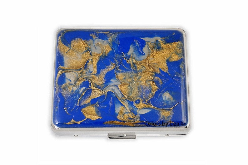 8 day Pill Box Hand Painted Enamel in Cobalt Blue and Gold Quartz Inspired  Design Weekly Pill Organizer with Personalized Option