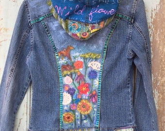 Painted Denim Jacket Maybe She's a Wildflower