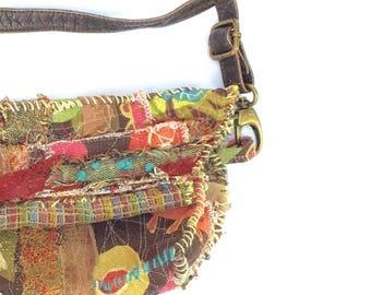 Handmade Artsy Crossbody Bag Bohemian Chic in Fall Colors
