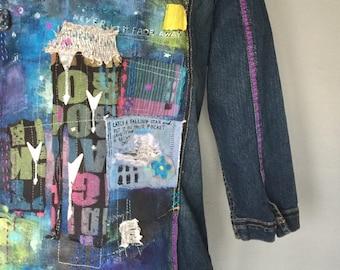 Painted Jacket, Wearable Art, Embellished Denim, Star Design, Upcycled Artwear