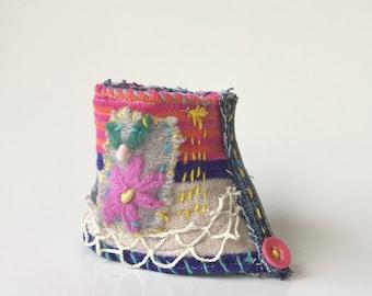 Fun Textile Art Cuff Bracelet, Hamdmade, Upcycled