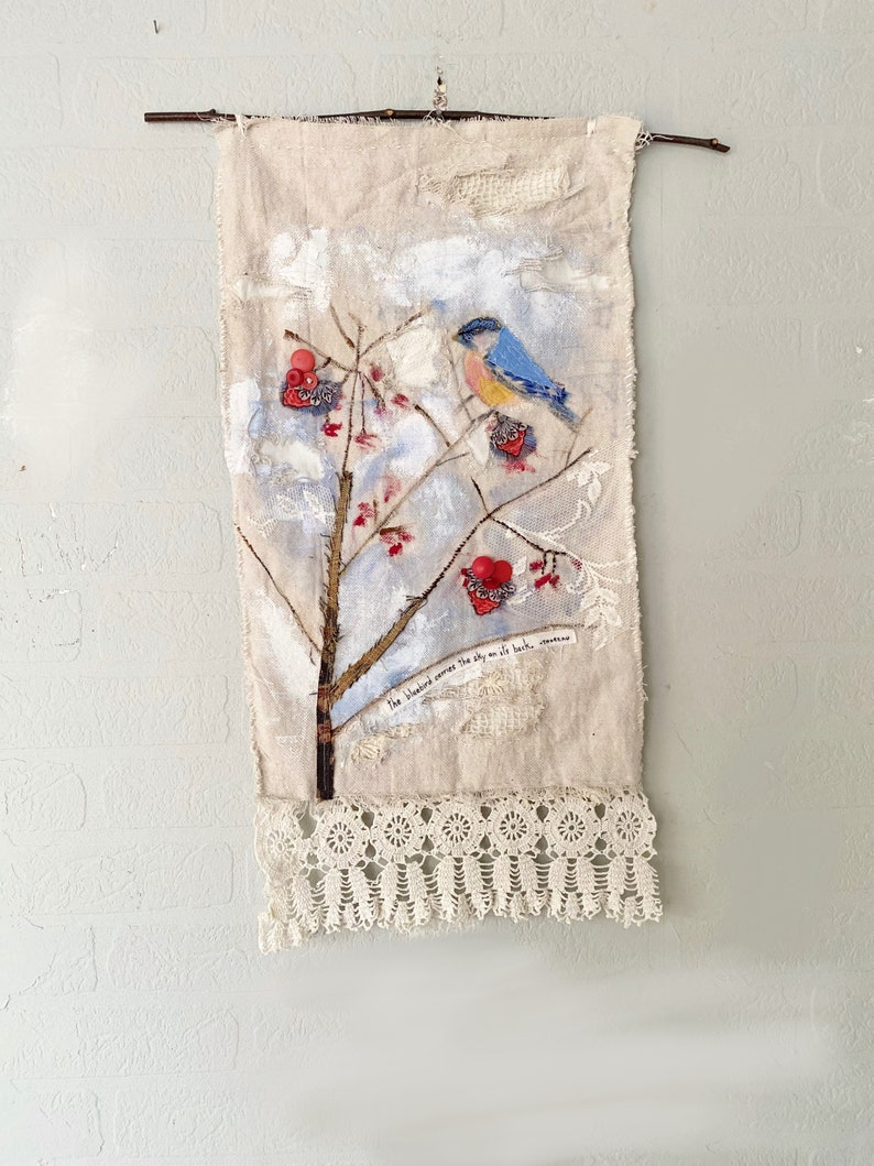 Bluebird Themed Wallhanging Handpainted Mixed Media image 0