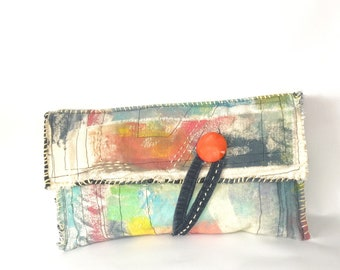 Handmade Artist's Painted Canvas Clutch Bag Abstract