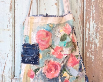 Handmade Boho Floral Bag Shabby Chic