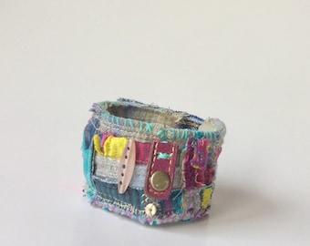 Handmade Artsy Cuff Bracelet,  Upcycled Bracelet