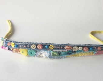 Mixed Media Upcycled Headband in turquoise yellow green