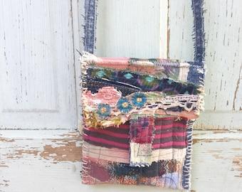 Small Crossbody Bag Upcycled Wearable Art