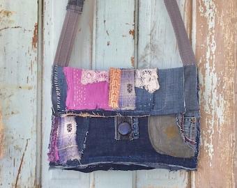 Crossbody Handmade Boho Bag Recycled Textiles