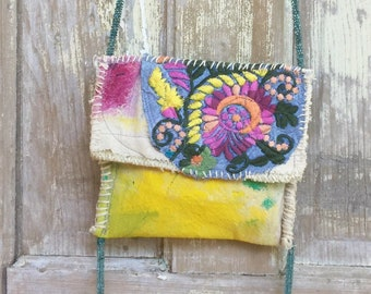 Whimsical Summer Bag Crossbody Style Upcycled Wearable Art