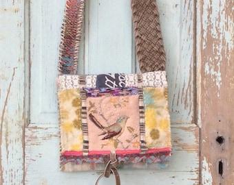 Mixed Media Unique Crossbody Bag, Artsy Earthy Handmade Nature Themed
