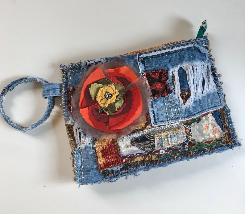 Festive Boho Clutch Bag with Red Flower image 0