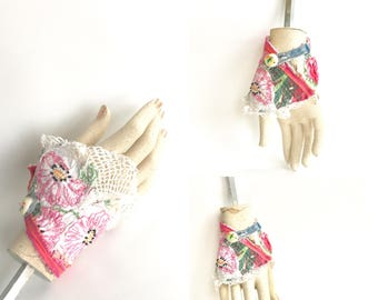 Pretty in Pink Boho Chic Floral Cuff Bracelet Handmade Upcycled