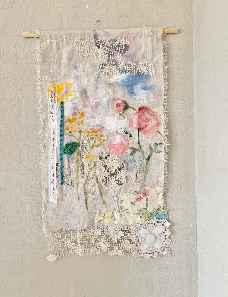 Handpainted Fabric Wallhanging Mixed Media Floral Theme Boho image 0