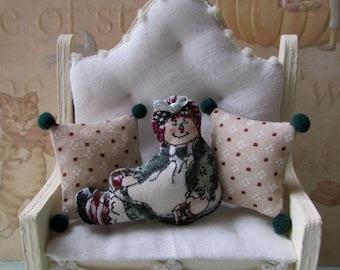 Ooak Dollhouse miniature Raggedy Ann style toss Pillow set