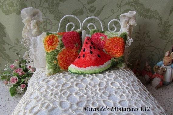 Beautiful Fruit Tree Dollhouse Miniature Pillow 1:12 Scale