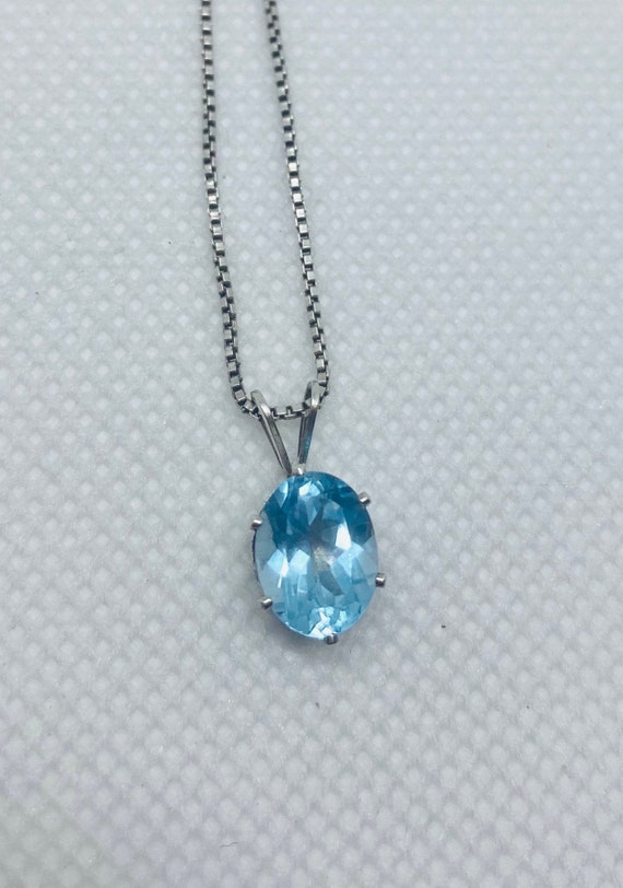 Vintage Topaz 925 Sterling Silver Necklace, Italy