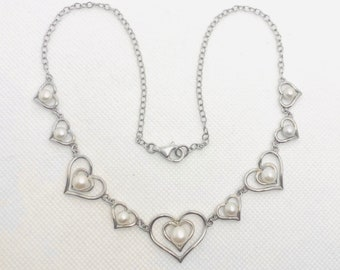 """Vintage Sterling Cultured Pearl Heart Necklace 925 Sterling Silver MI 17"""" L, White Pearls, Gift For Her"""