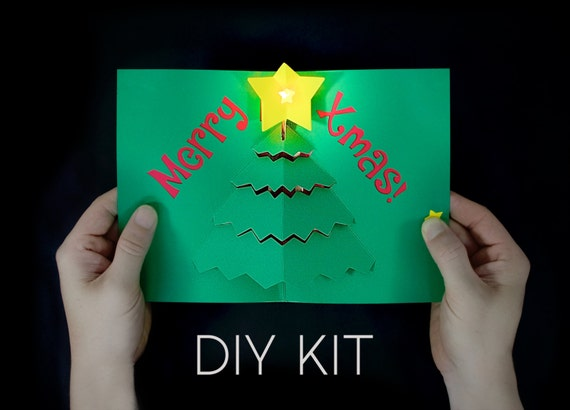 Merry X Mas Light Up Card Kit Diy Christmas Card Pop Up Etsy