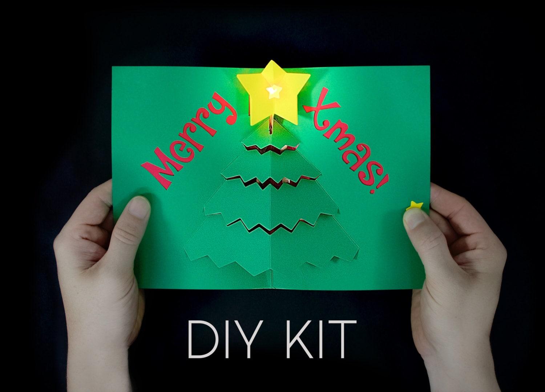 merry x mas light up card kit diy christmas card pop up etsy