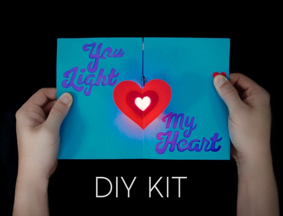 Heart Light Up Card Kit Love Card Diy Card Unique Card Etsy