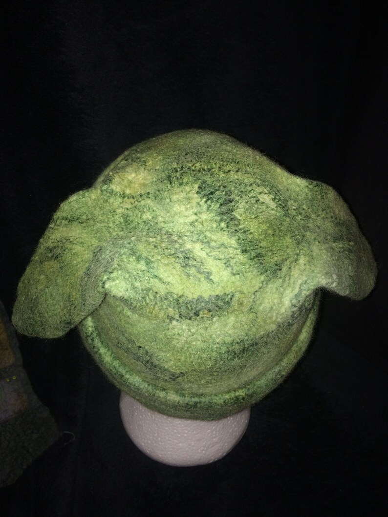 Merino wool wet felted scull cap with ears detail. Sage greens