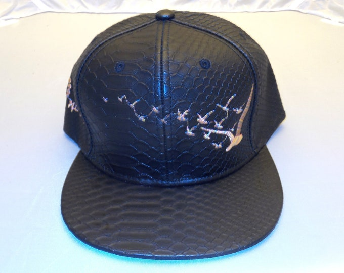 Buckle-back Flat-Brim Hat - Flock of Seagulls (One-of-a-kind)