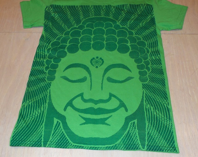 T-Shirt - Optical Buddha (Green on Green)