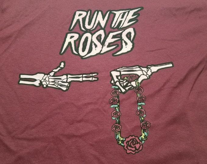 T-Shirt - Run The Roses (on Maroon)
