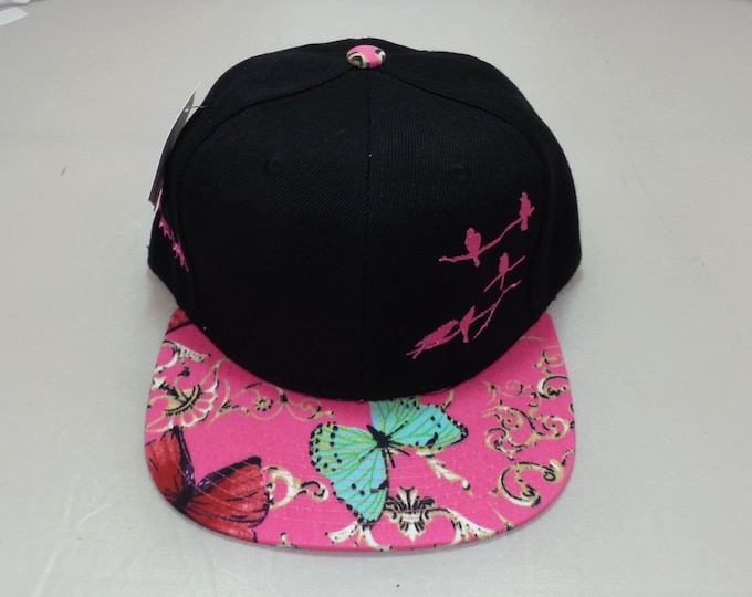 Snapback Flat-Brim Hat - Birds on Branches (One-of-a-kind)