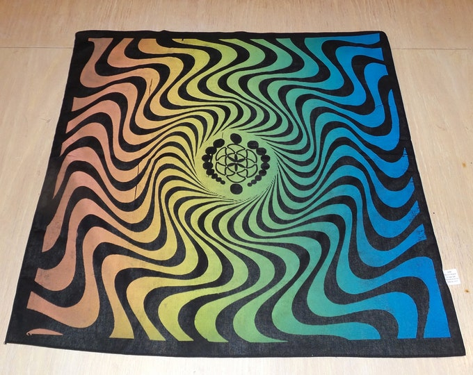 Bandanna - Wavy Logo (Rainbow on Black)
