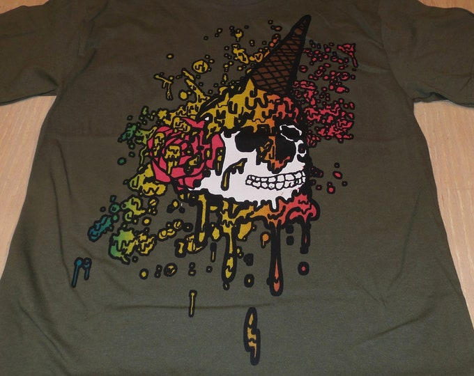 T-Shirt - Ice Cream Skull (on Army)