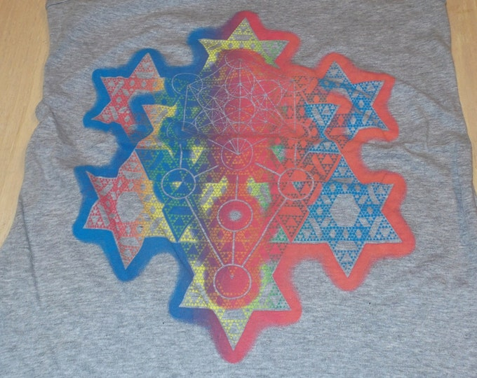 Women's Tank Top - Merkaba Fractal (Rainbow on Gray)