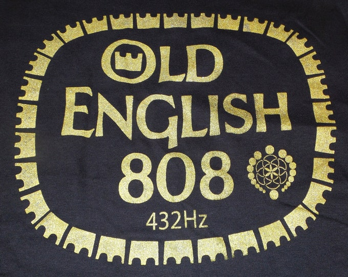 T-Shirt - Old English 808 (Gold on Black)